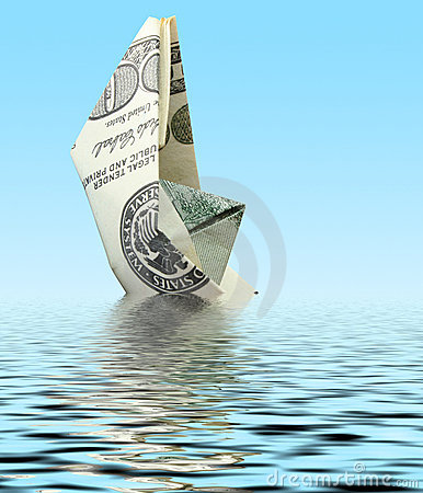 Money ship in water