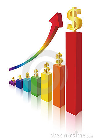 Money sign on multicolor bar diagram