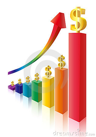 Money sign multicolor bar diagram