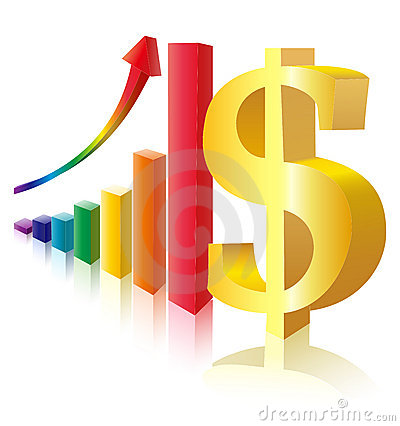 Money sign before multicolor bar diagram