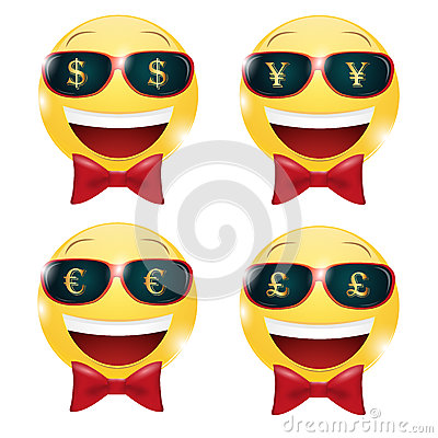Money happy emotion. cash emoji cheerful. dollar isolated. |Smiley Face Holding Money