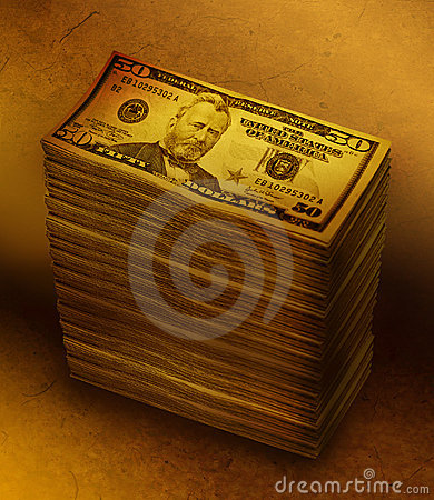 Money Stack Pile on Brown Background