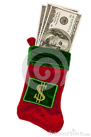Money Stuffed in a Christmas Stocking
