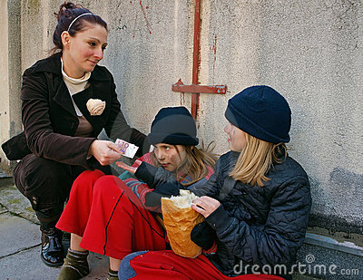 Money to children beggars