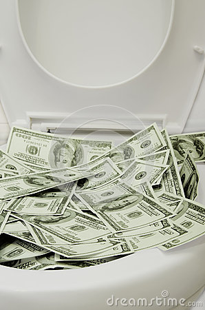 Money in a toilet