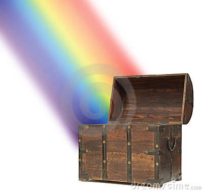 Money treasure chest rainbow