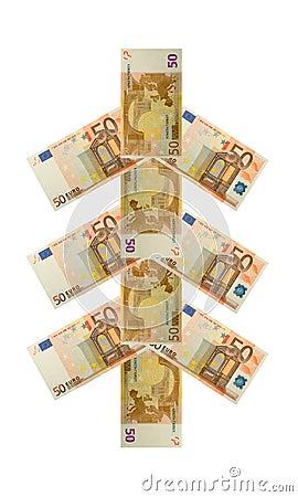 Money tree fifty euro banknote