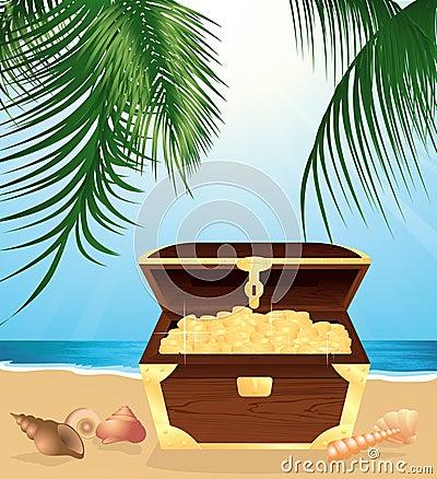 Money trunk on the beach