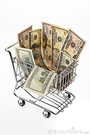Money U.S. dollars with shopping basket