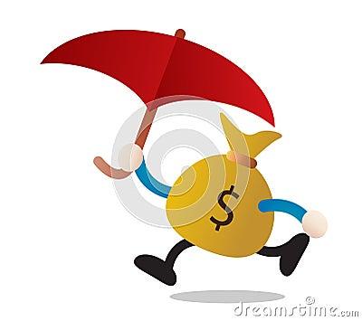 Money and umbrella