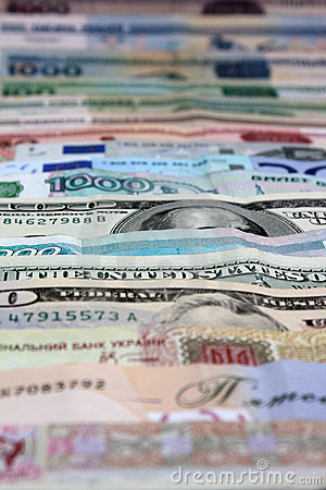 Money, various currencies as a background