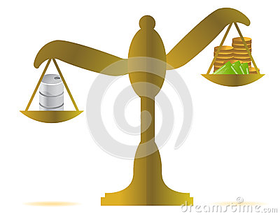 Money vs oil balance illustration design