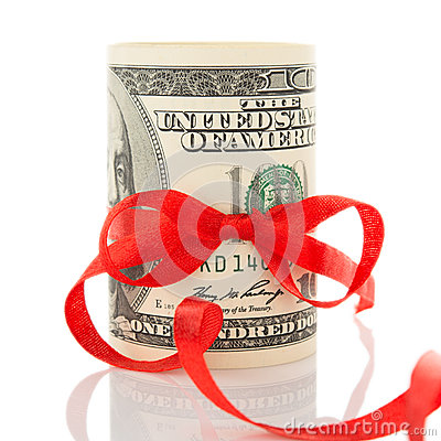Free Money With Ribbon And Red Bow Stock Image - 27831521