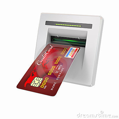 Money withdrawal. ATM and credit or debit card