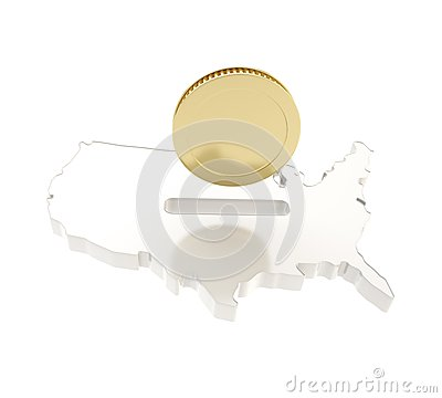 美国国家(地区)形状作为与一枚金黄硬币的一moneybox