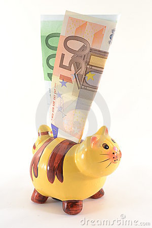 Moneybox with euro banknotes