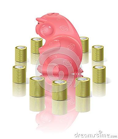 Moneybox Piggy com dinheiro