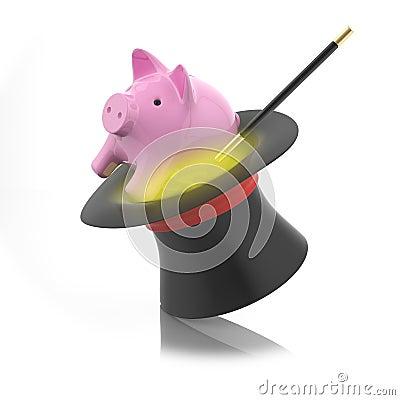 Moneybox prosiątko wyłania się od magika kapeluszu