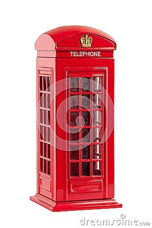 Moneybox representing red british telephone booth