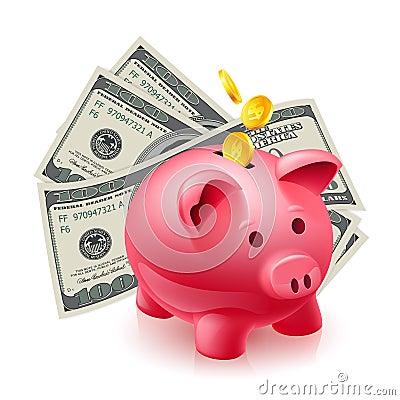 Moneybox - świnia i dolary