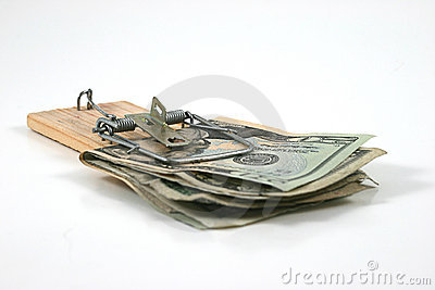 Moneytrap (Money caught in a mouse trap)