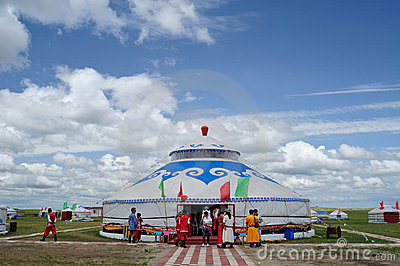 Mongolia package under blue sky and white clouds Editorial Stock Photo