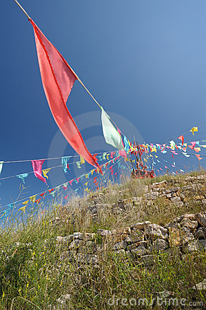 Mongolian Aobao and flag