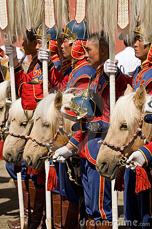 Free Mongolian Cavalry With Horses Royalty Free Stock Images - 5914709