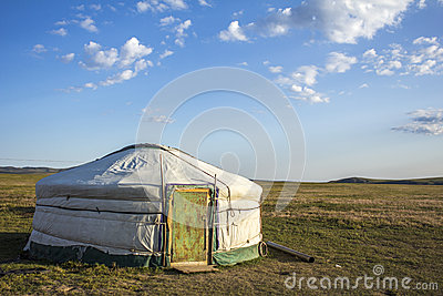 Mongolian Ger Steppe Stock Photo