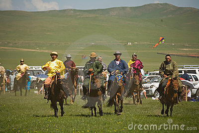 Mongolian Horse race Editorial Photo