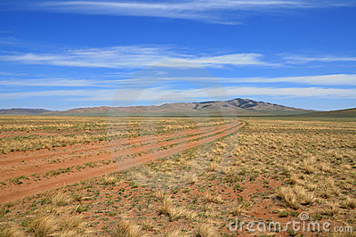 Mongolian Landscape With Nomad Road Royalty Free Stock Photo - Image: 5377465