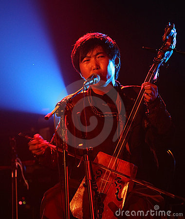 Mongolian musician in action Editorial Image