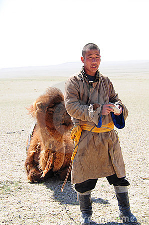 Mongolian nomadic herdsman with his camel Editorial Stock Image