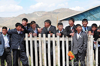 Mongolian schoolboys Editorial Photography