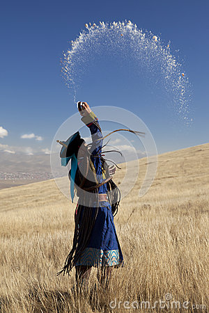 Mongolian shaman, in an offering ceremony Editorial Image