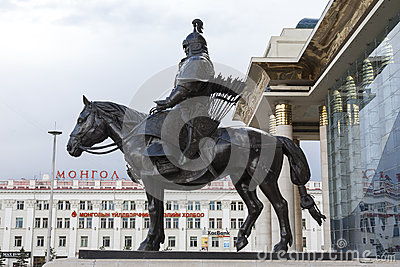 Mongolian Warrior on Horse Statue Editorial Photo