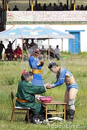 Mongolian Wrestler Editorial Stock Image