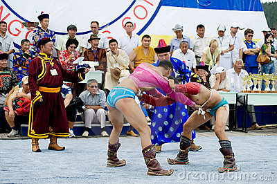 Mongolian wrestlers Editorial Stock Image