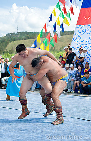 Mongolian wrestlers Editorial Photography