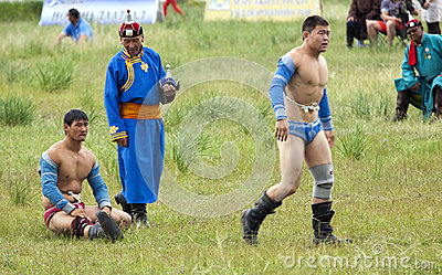 Mongolian Wrestling Match Editorial Stock Image