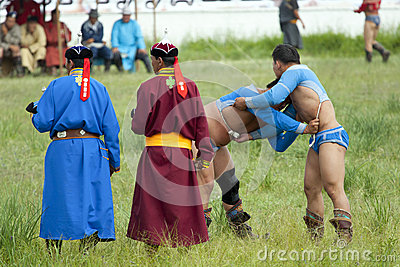 Mongolian Wrestling Match Editorial Photography