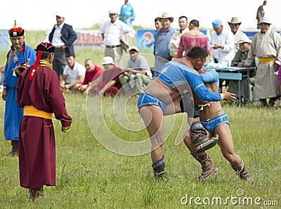 Mongolian Wrestling Match Editorial Photo