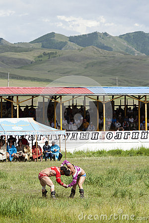 Mongolian Wrestling Match Editorial Stock Photo