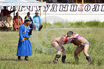 Mongolian Wrestling Match Editorial Image