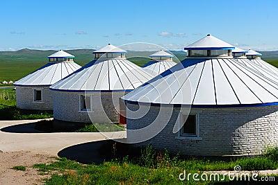 Mongolian yurts in grassland