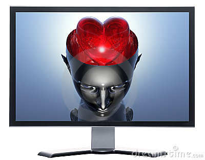 Monitor with 3D heart in 3D cyborg girl head