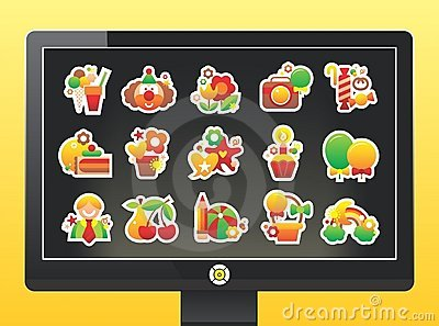 Monitor with a beautiful holiday icons