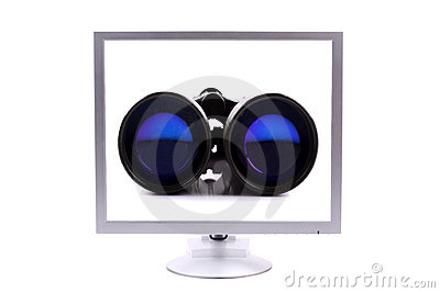 Monitor with binoculars