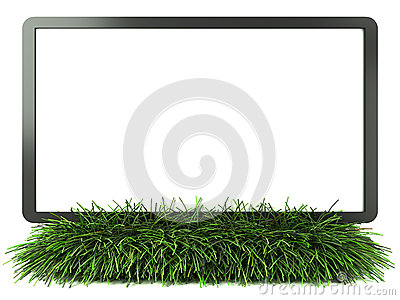 Monitor on grass with