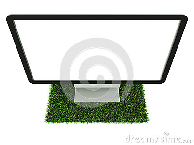 Monitor on grass top view